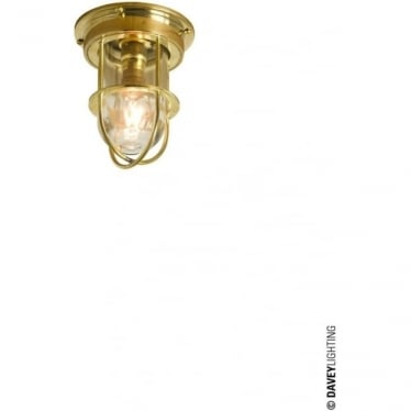 7203 ship's campanionway light & Guard, Miniature, Polished Brass, Clear glass