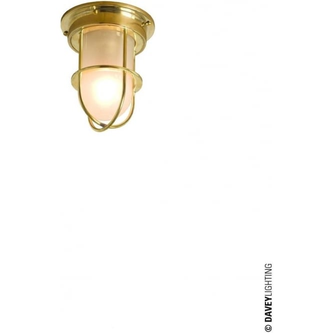 Davey Lighting 7203 ship's campanionway light & Guard, Miniature, Polished Brass, Frosted glass