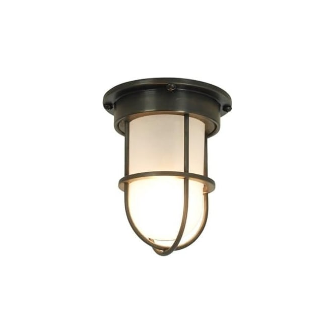 Davey Lighting 7203 ship's campanionway light & Guard, Miniature, Weathered Brass, Frosted glass