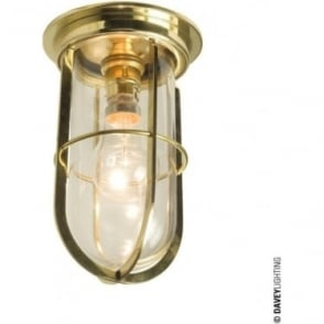 7203 Ship's campanionway light & Guard, Polished Brass, Clear glass