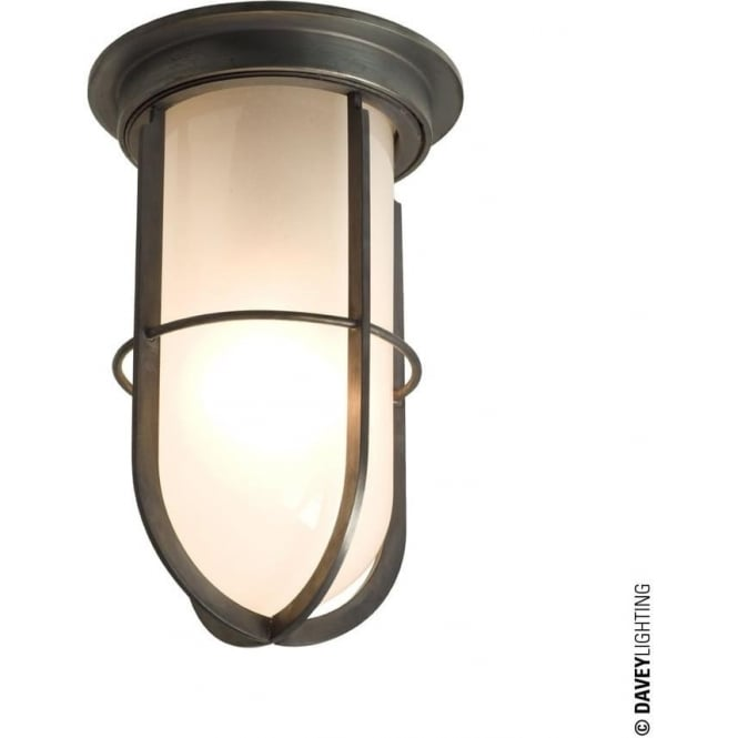 Davey Lighting 7203 Ship's campanionway light & Guard, Weathered Brass, Frosted glass