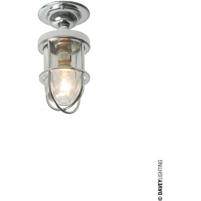 Davey Lighting 7204 ship's well glass ceiling light, Miniature, Chrome Plated, Clear glass