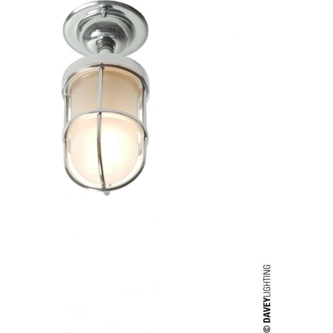Davey Lighting 7204 ship's well glass ceiling light, Miniature, Chrome Plated, Frosted glass