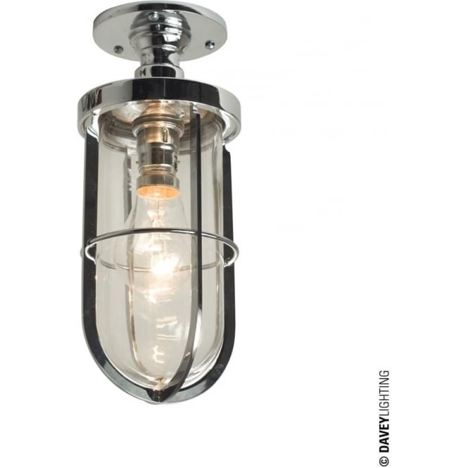 Davey Lighting 7204 Weatherproof Ship's well glass ceiling light, Chrome plated, Clear glass