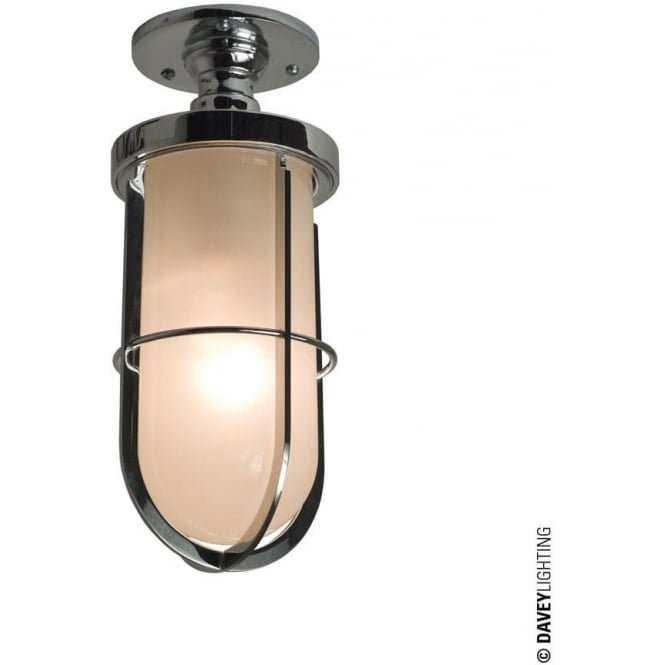 Davey Lighting 7204 Weatherproof Ship's well glass ceiling light, Chrome plated, frosted glass