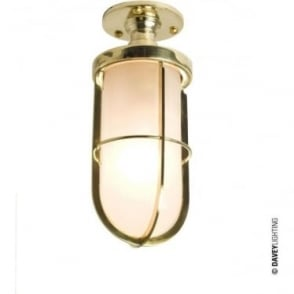 7204 Weatherproof Ship's well glass ceiling light, Polished Brass, Frosted glass