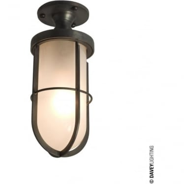 7204 Weatherproof Ship's well glass ceiling light, Weathered Brass, Frosted glass