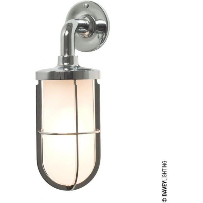 Davey Lighting 7207 weatherproof Ship's well glass wall light, Chrome Plated, Frosted glass