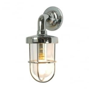 7207 weatherproof Ship's well glass wall light, Miniature, Chrome Plated, Clear glass