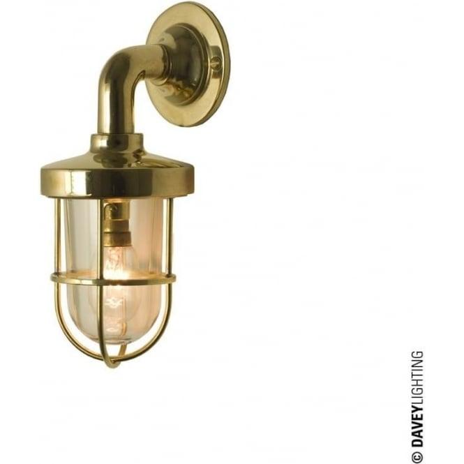 Davey Lighting 7207 weatherproof Ship's well glass wall light, Miniature, Polished Brass, Clear glass