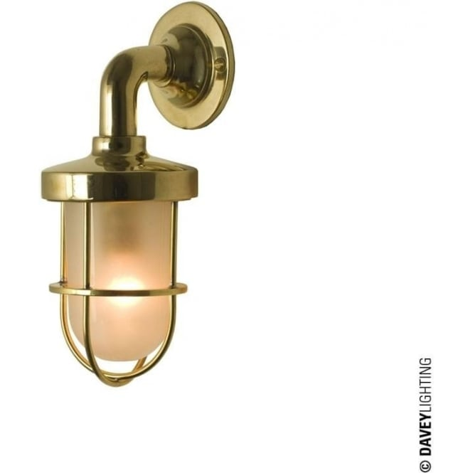 Davey Lighting 7207 weatherproof Ship's well glass wall light, Miniature, Polished Brass, Frosted glass