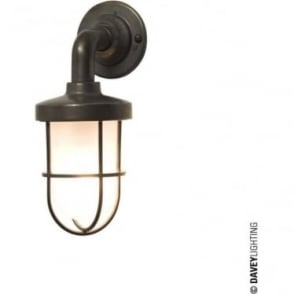 7207 weatherproof Ship's well glass wall light, Miniature, Weathered Brass, Frosted glass