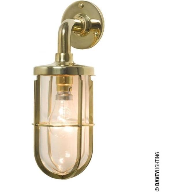 Davey Lighting 7207 weatherproof Ship's well glass wall light, Polished Brass, Clear glass