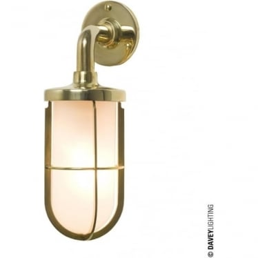 7207 weatherproof Ship's well glass wall light, Polished Brass, Frosted glass