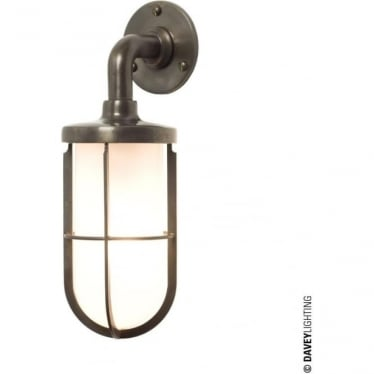 7207 weatherproof Ship's well glass wall light, Weathered Brass, Frosted glass