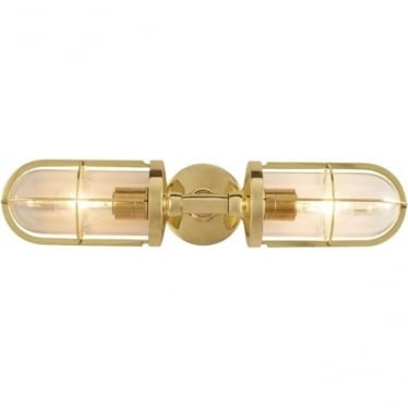 7208 Weatherproof Ship's Double Well Glass, Polished Brass, Clear Glass
