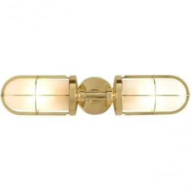 7208 Weatherproof Ship's Double Well Glass, Polished Brass, Frosted Glass