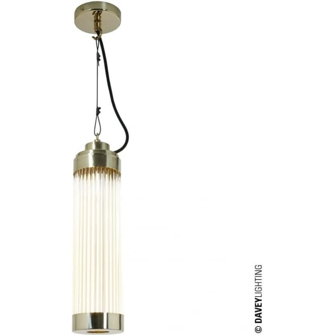 Davey Lighting 7213 Pillar Pendant Light, Polished Brass