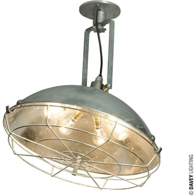 Davey Lighting 7242 Cargo Cluster Wall Light with Protective Guard, Galvanised