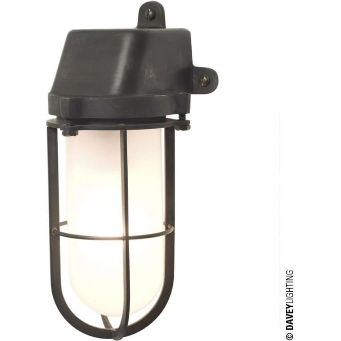 Davey Lighting 7401 Weatherproof Ship's Well Glass Light, Weathered Brass, Frosted