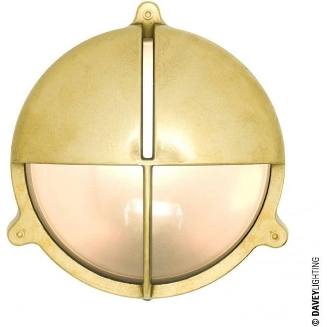 Davey Lighting 7427 Brass Bulkhead with Eyelid Shield, Natural Brass, Large