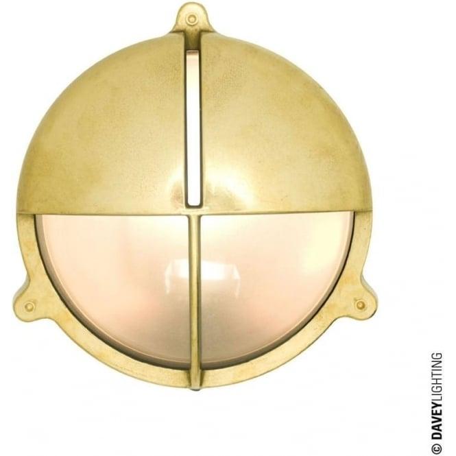 Davey Lighting 7428 Brass Bulkhead with Eyelid Shield, Natural Brass