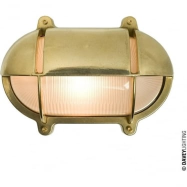 7435 Oval Brass Bulkhead with Eyelid Shield, Medium, Natural Brass