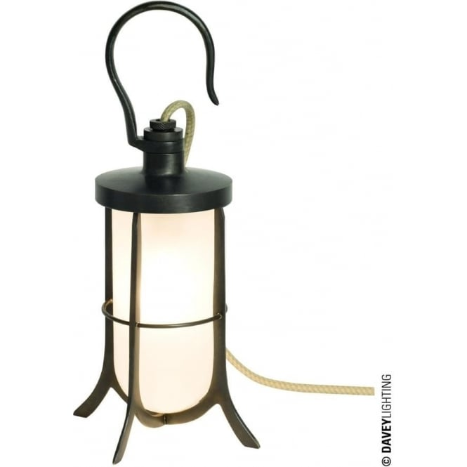 Davey Lighting 7521 Ship's Hook Light, Weathered Brass, Frosted Glass