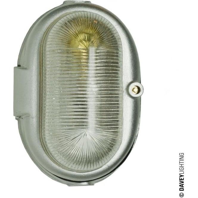 Davey Lighting 7527 Oval Aluminium Bulkhead, E27, Silver Powder Coated