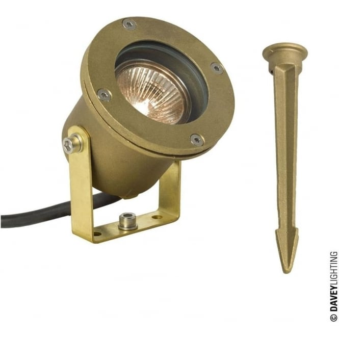 Davey Lighting 7604 Spotlight for Submerged or Surface use, Brass Plate, Ground Spike
