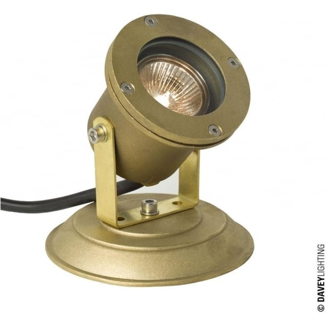 Davey Lighting 7604 Spotlight for Submerged or Surface use, Brass Plate