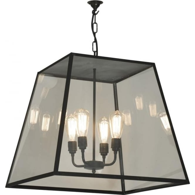 Davey Lighting 7635 Quad XL, Closed Top, 4 Lampholders, Weathered Brass, Clear