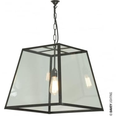 7636 Quad Pendant, Large, Weathered Brass, Clear