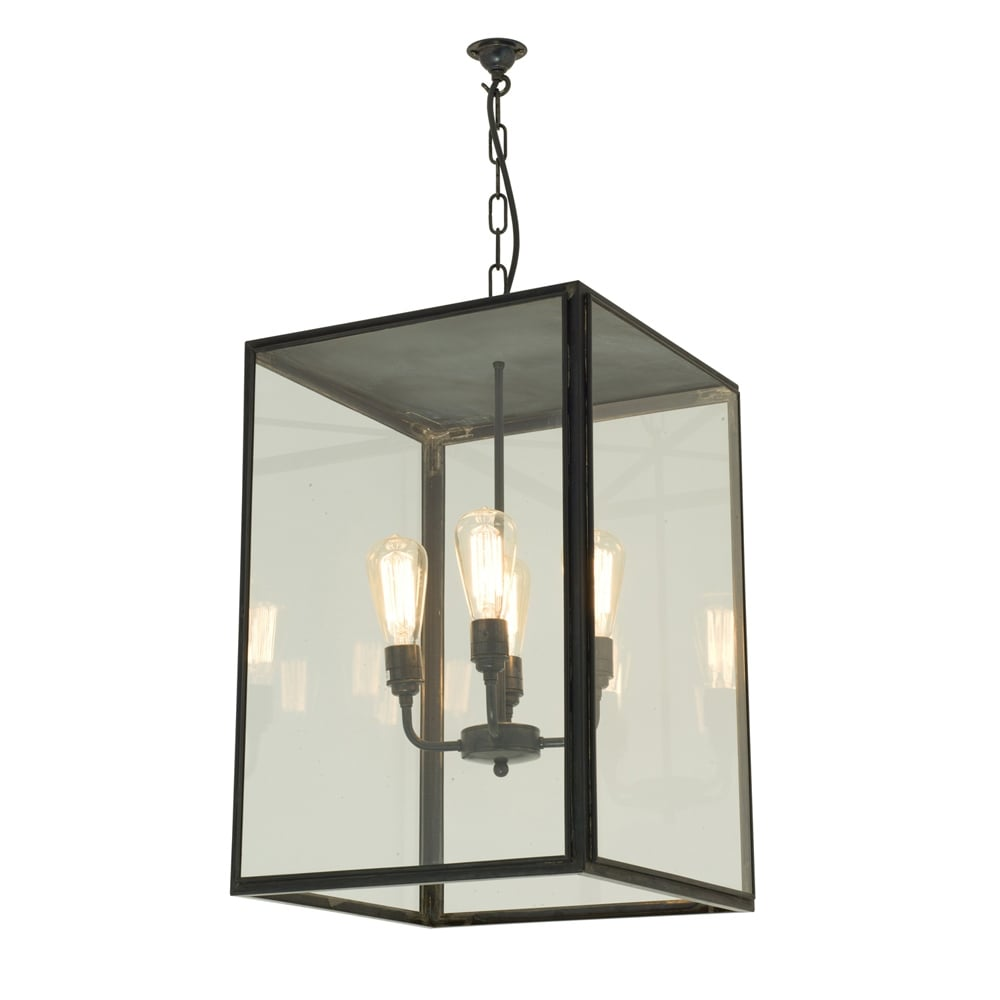 7638 Exterior Square Pendant Extra Large Weathered Brass Clear