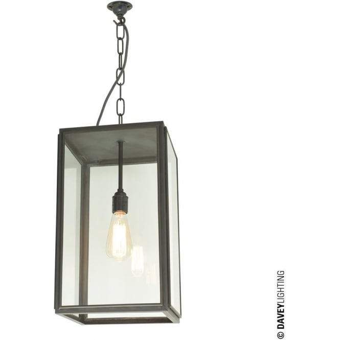 Davey Lighting 7638 Exterior Square Pendant, Medium, Weathered Brass, Clear