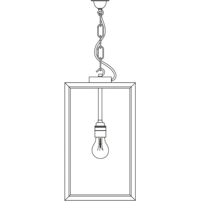 Davey Lighting 7638 Exterior Square Pendant, Small, Weathered Brass, Frosted