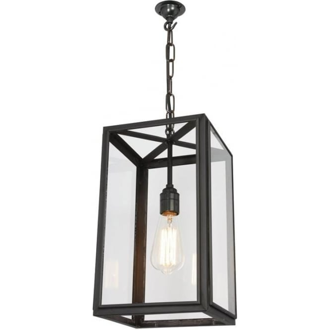 Davey Lighting 7639 Square Pendant, Small, Weathered Brass, Clear