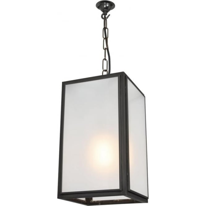Davey Lighting 7639 Square Pendant, Small, Weathered Brass, Frosted
