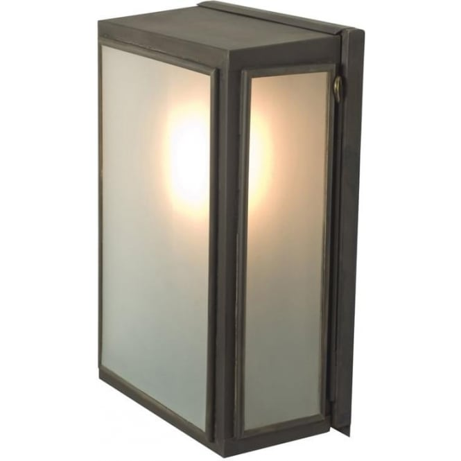Davey Lighting 7641 Small Wall Box, Weathered Brass, Frosted