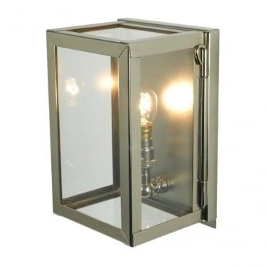 7643 Box Wall Light, Miniature, Internally Glazed, Polished Nickel, Clear