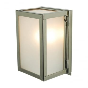 7643 Box Wall Light, Miniature, Internally Glazed, Polished Nickel, Frosted