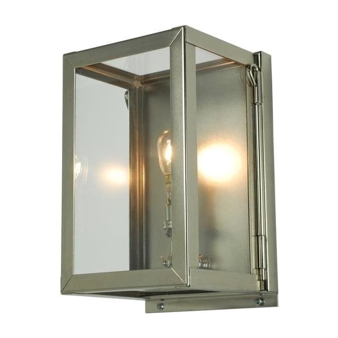 Davey Lighting 7643 Box Wall Light, Miniature, Internally Glazed, Satin Nickel, Clear