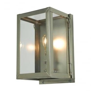 7643 Box Wall Light, Miniature, Internally Glazed, Satin Nickel, Clear