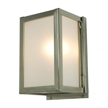 7643 Box Wall Light, Miniature, Internally Glazed, Satin Nickel, Frosted