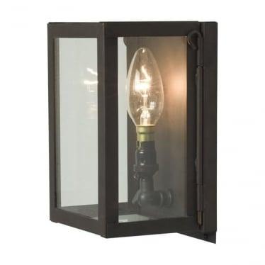 7643 Box Wall Light, Miniature, Internally Glazed, Weathered Brass, Clear