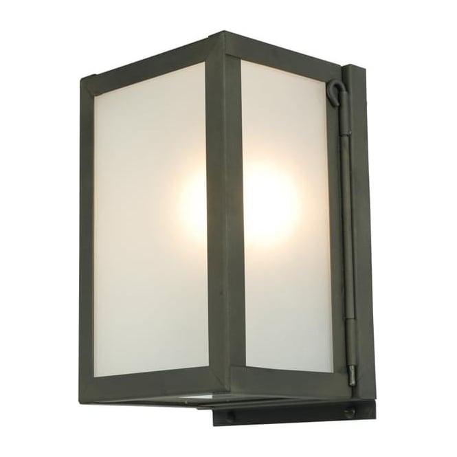 Davey Lighting 7643 Box Wall Light, Miniature, Internally Glazed, Weathered Brass, Frosted