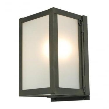 7643 Box Wall Light, Miniature, Internally Glazed, Weathered Brass, Frosted