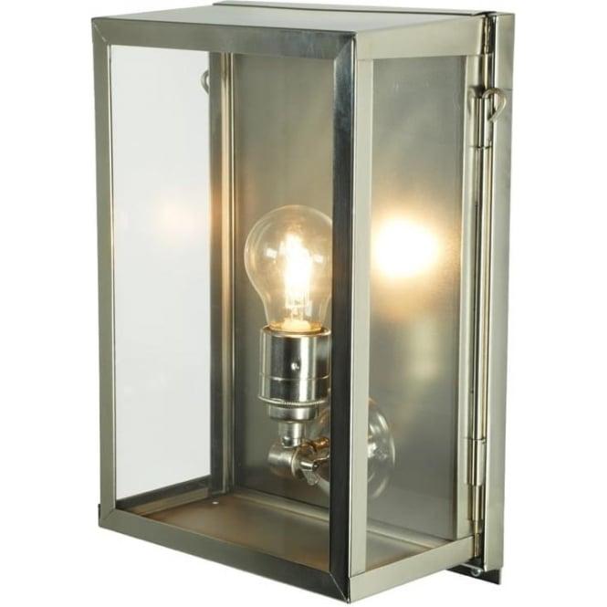 Davey Lighting 7644 Box Wall Light, Small, Internally Glazed, Satin Nickel, Clear