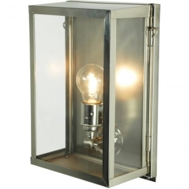 7644 Box Wall Light, Small, Internally Glazed, Satin Nickel, Clear