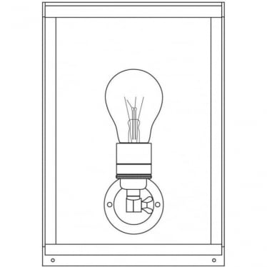7644 Box Wall Light, Small, Internally Glazed, Satin Nickel, Frosted